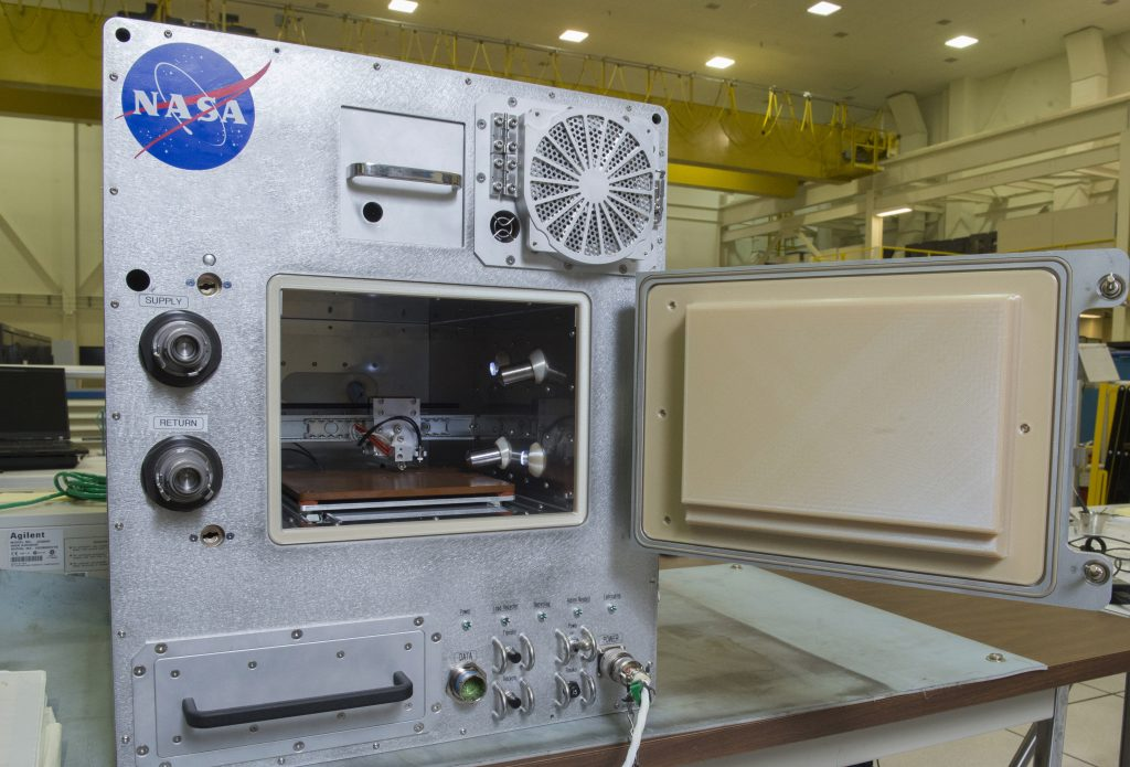 NASA and Tethers Unlimited Inc. Refabricator recycler and 3D printer, due for launch on the ISS 2018. Photo via: NASA/MSFC/Emmett Given