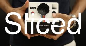 Sliced logo over Abhishek Singh's Instagif camera. Original image via Abhishek Singh on YouTube