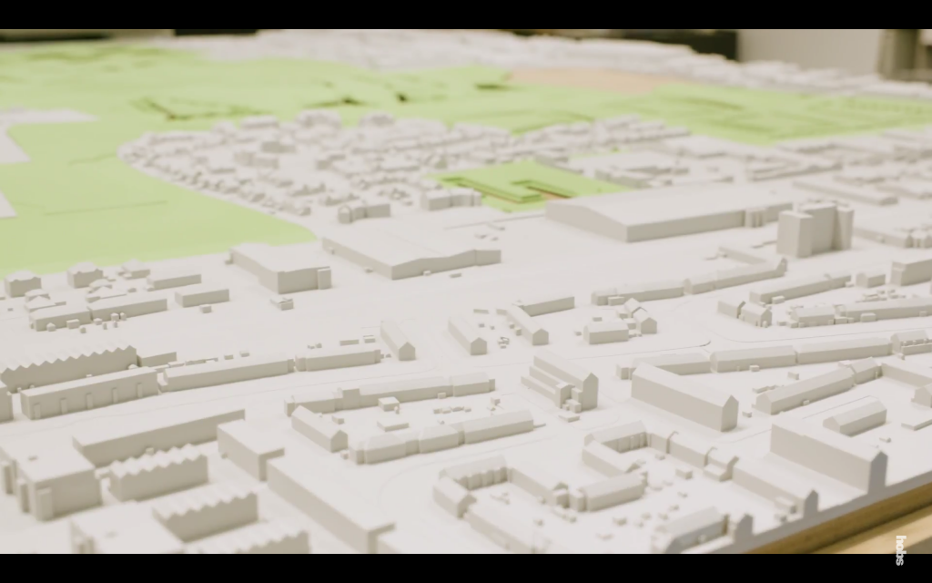 Many of Hobs Studio's customers are in architectural modeling. Above shows the company's largest 3D printed model plan for Barking Riverside development in East London. Screenshot via Hobs Group on YouTube