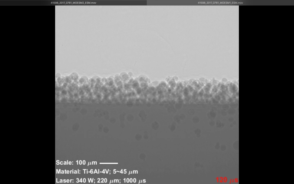 Metal particles in the print bed before melting. X-ray image via ANL