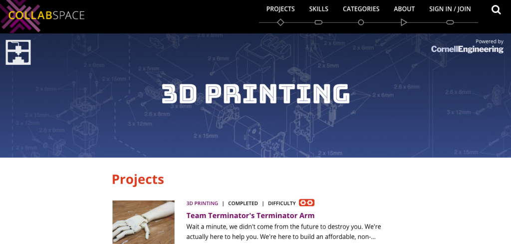 Collabspace's 3D printing section. Image via: Cornell Engineering