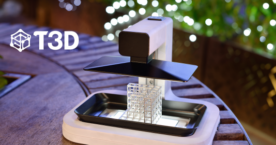 A test print on the T3D Mobile 3D Printer on Kicktarted. Image via T3D