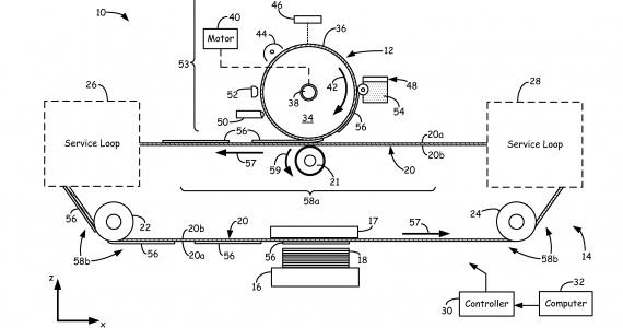 Schematic of Evolve Additive Solutions' electrophotography-based additive manufacturing system. Image via US patent 8488994 B2