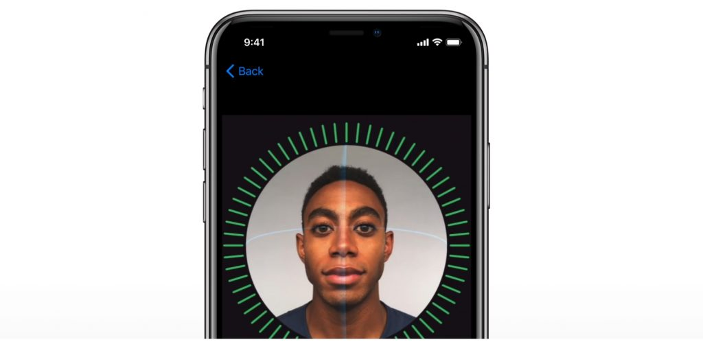 TrueDepth perception ensures that a 3D map of a person's face is unique. Image via Apple