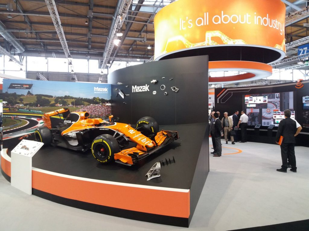 A Formula 1 car at Mazak's booth for EMO 2017. Photo via Ruben Brown/GES EMEA