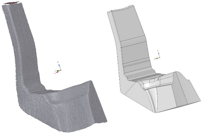 A scanned part being prepared for reverse engineering with SpaceClaim. Image via Artec.
