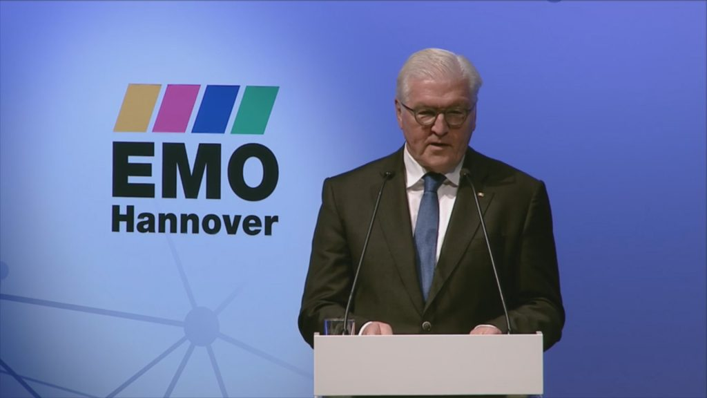 President Frank-Walter Steinmeier of Germany speaks at the opening ceremony of EMO 2017 in Hannover. Photo via Emo Hannover