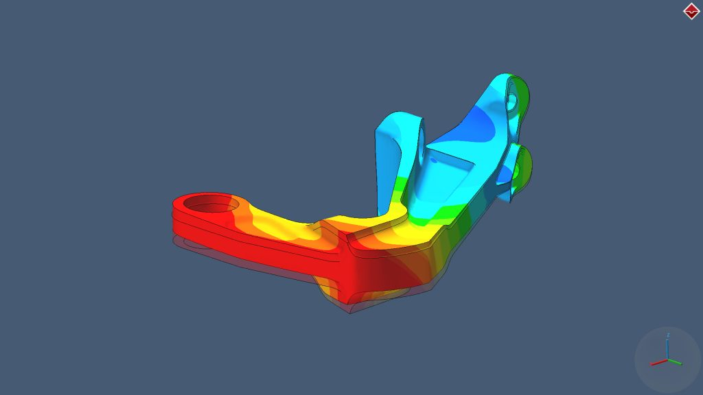 Simulation of bracket distortion using Simufact Additive. Image via MSC Software