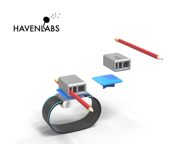 The Utility Band with a 3D-printed pencil-holder attachments. Photo via: Havenlabs