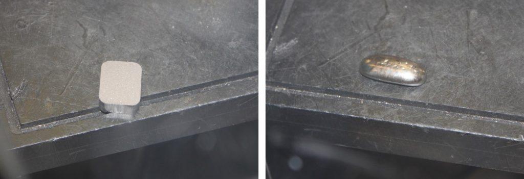 Left: a uranium silicon compact. Right: a melted pellet of uranium silicide. Photos form Appendix 5 - U3Si2 Fuel - Westinghouse Nuclear