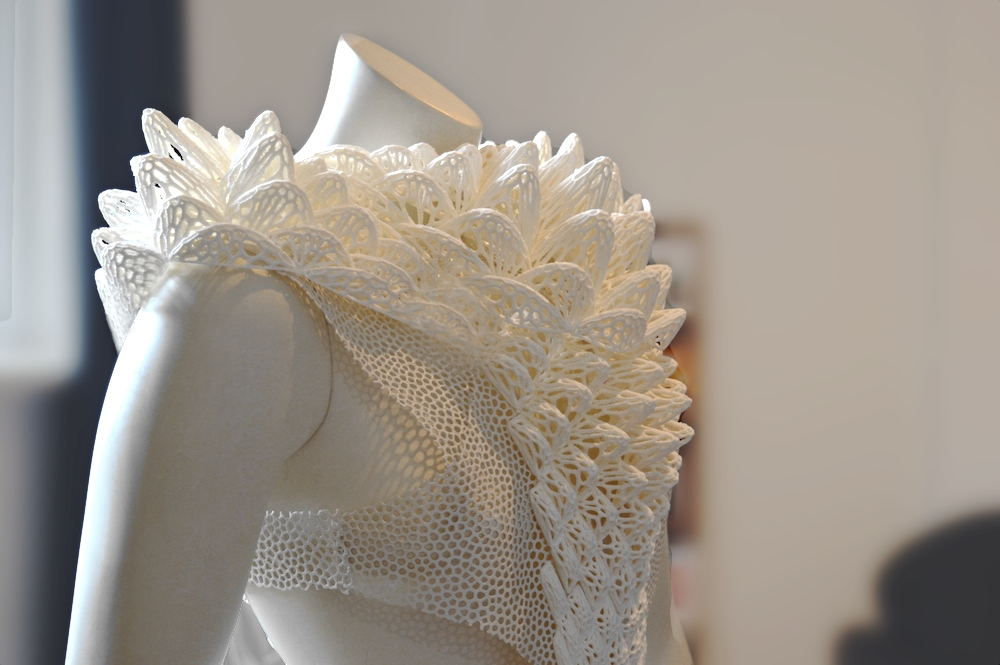 A 3D printed dress and neckpiece. Photo via Florent Michaud.