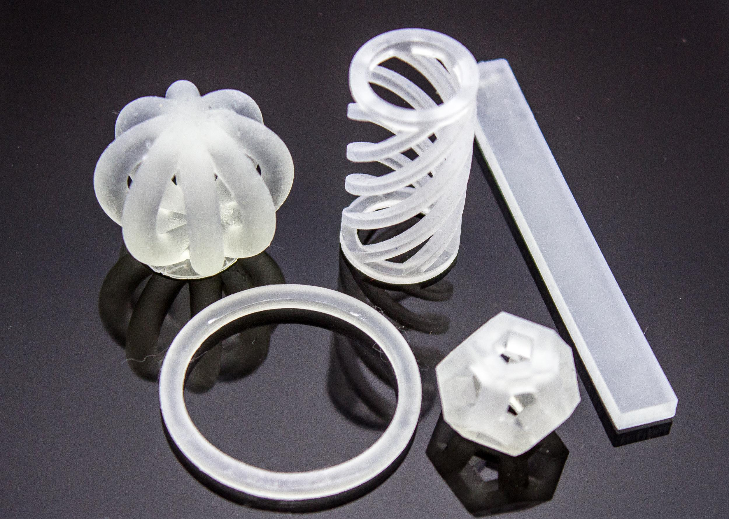 A selection of 3D printed objects using Henkel-developed resin. Photo via Henkel