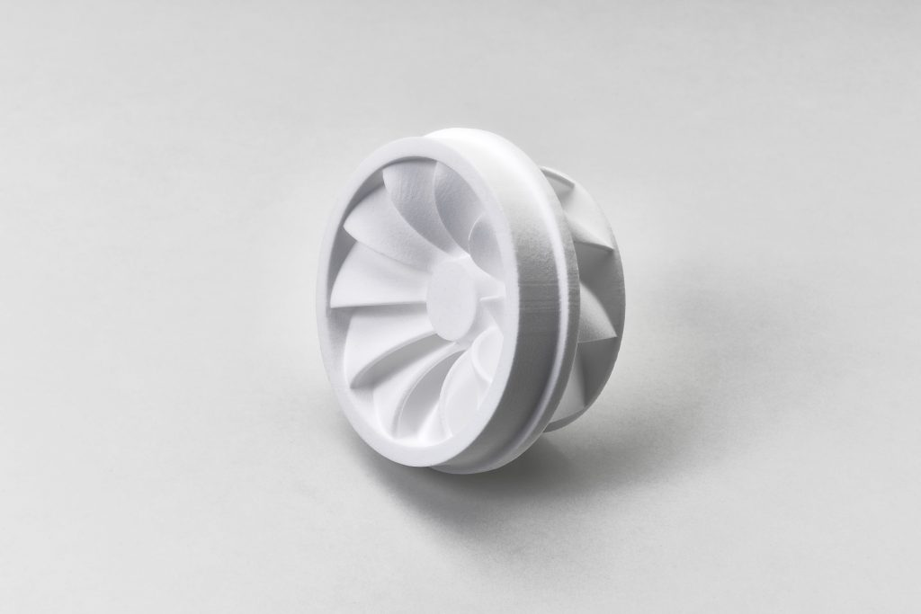 An impeller part 3D printed using the PPC² process. Photo via voxeljet