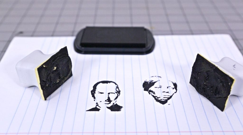 Heroes on 3D printed stamps: Steve Jobs (L) and Harriet Tubman (R). Photo via Adafruit.
