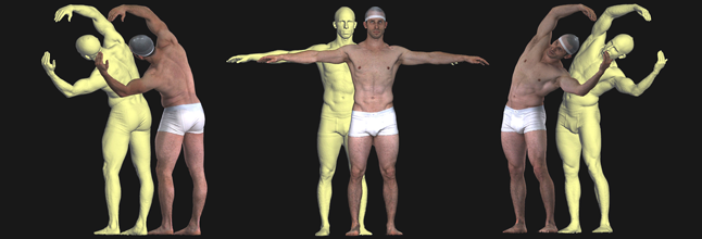 Movements and corresponding models of the body captured by 3dMD 3D scanners. Image via 3dMD