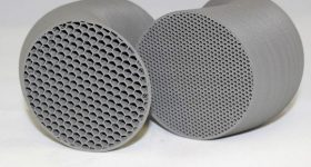 BASF Ultrafuse 316LX sintered parts with internal honeycomb infill. Photo via BASF