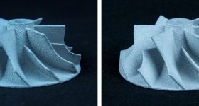 Comparison of an impeller component casted using molds made by voxeljet's existing PolyPor B (PPB) process and the new PolyPor C2 process. Image via voxeljet AG