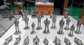 Digital Metal 3D printed figures. Photo by Michael Petch.