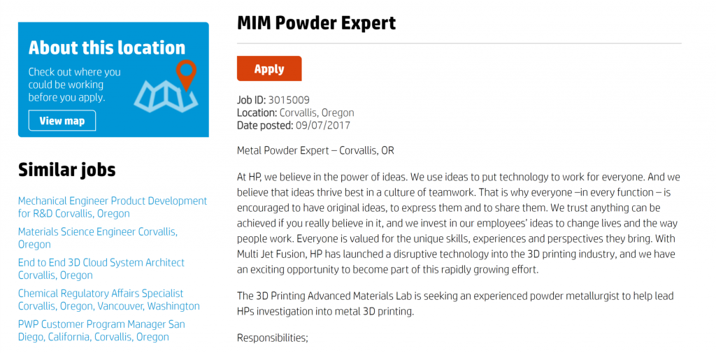HP seeks a MIM Powder Expert.
