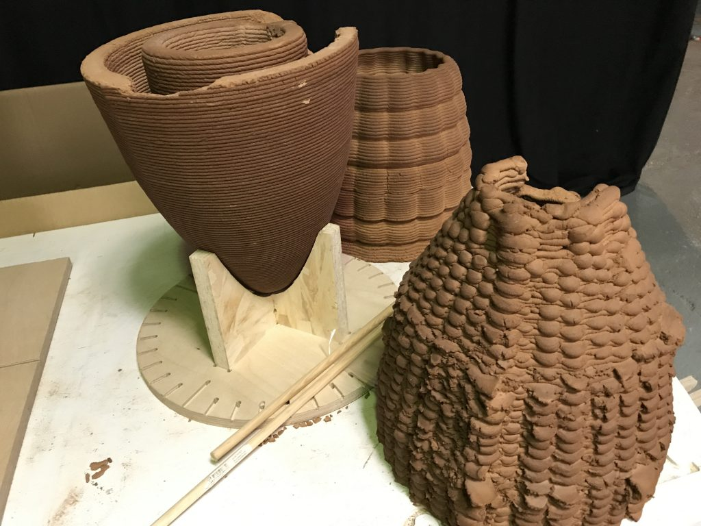 Samples of clay structures 3D printed using the Fab Lab KUKA arm in different clay composites. Photo by Beau Jackson for 3D Printing Industry