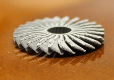 A 3D printed fan made of stainless steel printed on €300 printer Renkforce RF100. Photo via Fraunhofer IFAM.