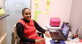 Nkholise, founder of iMed Tech in her office. Photo via Twitter/@nneile.