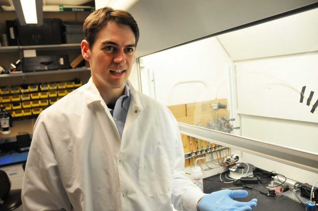 Pattinson in his lab. Photo via MIT people.