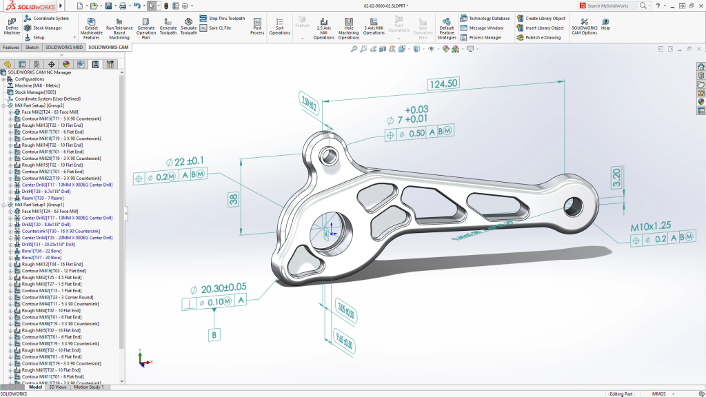 SOLIDWORKS CAM allows tolerance based machining.