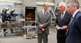 HRH Prince Edward, Duke of Kent tours Precision Foundry with Sir Andrew Cook. Photo via William Cook.