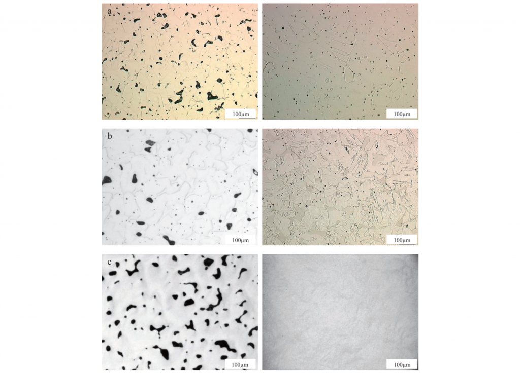Sintered and HIPed pore structures for a) 316L, b) 17-4PD and c) Ti 6Al 4V. Image via Journal of Japan Society of Powder Metallurgy. Vol 63, No. 7.