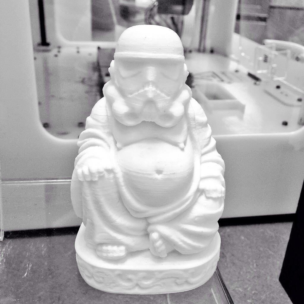 A Stormtrooper Buddha remix piece printed on demand by PieceMaker. Photo via Twitter/PieceMaker Tech.