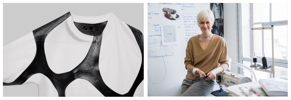 The ZOA biofabricated leather graphic tee (left) exhibited at MoMA, and Suzanne Lee, Chief Creative Officer at Modern Meadow. Photos via ZOA/Business of Fashion