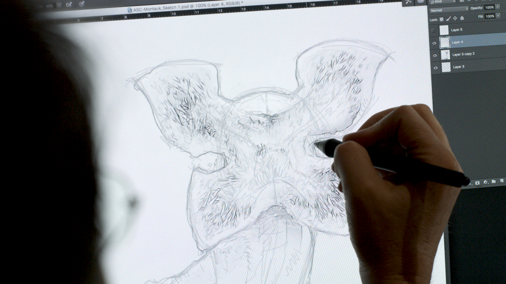 Sims' initial sketch of the Demogorgon. Photo via Formlabs.