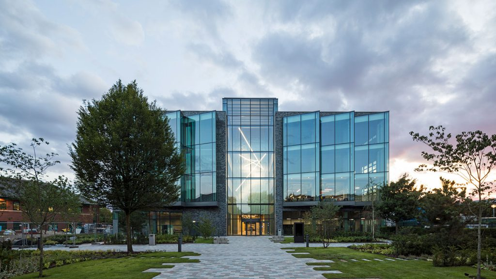 BiOspace is part of the Manchester Science Park where the Bright Building (pictured above), a state of the art workplace, was opened September 2017. Photo via Manchester Science Partnerships
