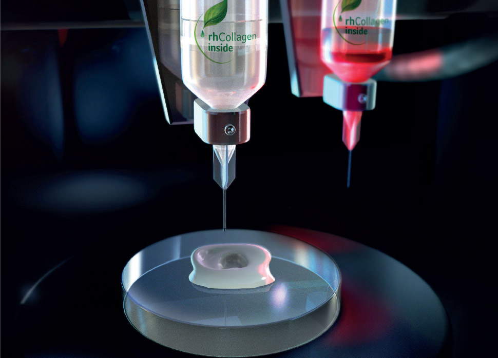 Graphic demonstration of 3D bioprinting with rhCollagen bio-ink. Image via CollPlant.