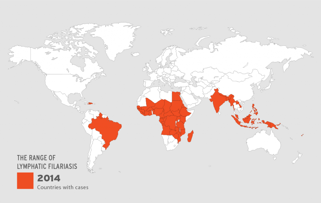 Map showing areas of the world with recorded cases of lymphatic filariasis (2014). Image via American Museum of Natural History.