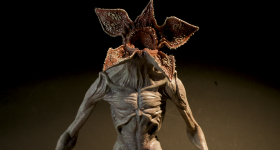A 3D printed hand painted Demogorgon model that was presented to the Stranger Things executives. Photo via Formlabs.