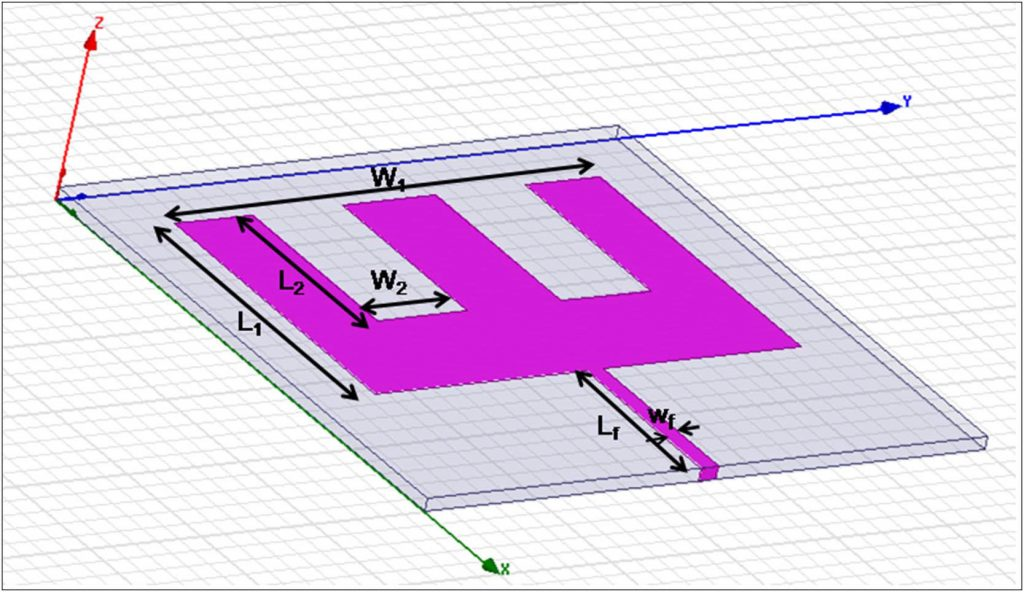 CAD design of the E-atenna electronic patch. Image via Smart Materials and Structures