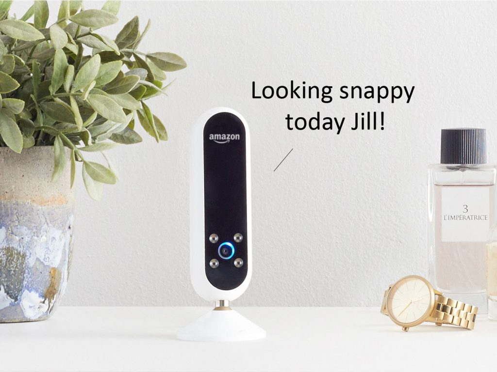 Amazon's Echo Look assistant knows what you should wear - and where to buy it. Photo via Amazon, text added by Beau Jackson