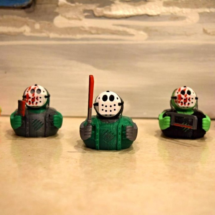 "Jason Voorhees ""Rubber"" Ducks by Jonathan Bovin. Photo via Tinkercad Halloween Competition."