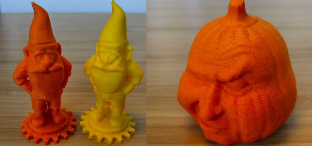 Some spooky and not so spooky 3D printed designs made from Proto-Pasta's new filament colours. Photo via Proto-Pasta.