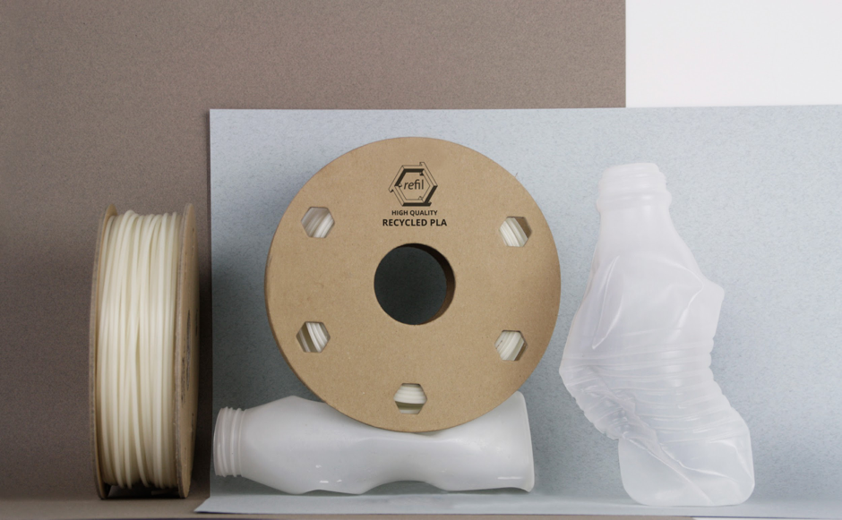 From raw material to filament, Refil uses yoghurt pots like these to creative and environmentally friendly use. Photo via Refil.