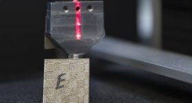 Mechanical test of the added strength 3D printed stainless steel. Photo by Kate Hunts/LLNL.