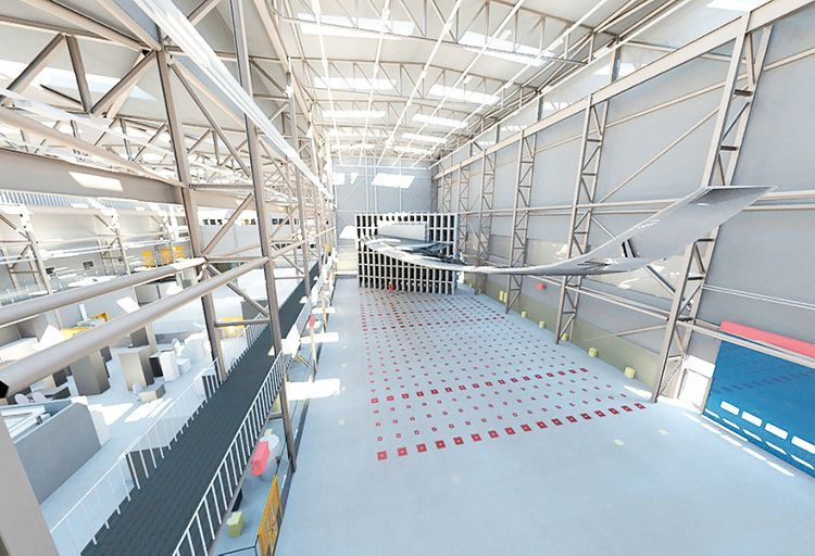 Artist impression of a future strong wall and floor test area for wings in an Airbus Wing Integration Centre . Image via Airbus
