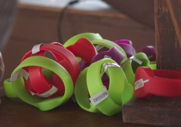 Charging wristbands developed at Brunel University London. Photo via Brunel University London