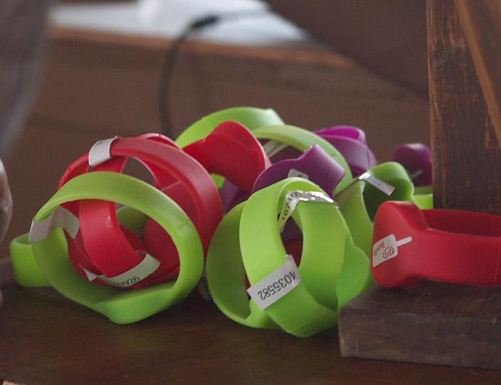 Charging wristbands developed at Brunel University London. Photo via Brunel University London