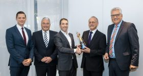 From right to left: Guido Kleinschmidt (Member of the Managing Board of SMS group); Norbert Gober (Vice President Research and Development, SMS group); Daan A.J. Kersten (CEO, Additive Industries); Markus Hüllen (Vice President 3D Competence Center, SMS group) and Bernhard Steenken (Corporate Development, SMS group).
