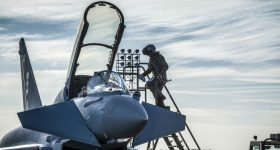 A pilot boards the cockpit of a Eurofighter Typhoon. Photo via BAE Systems.