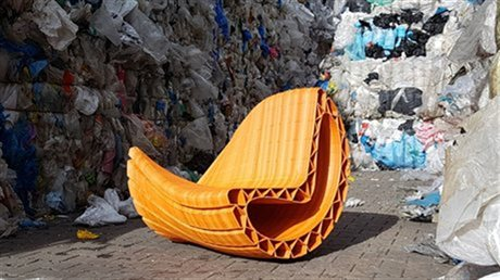 A sofa made of recycled plastic bags. Photo via Amsterdam.nl.