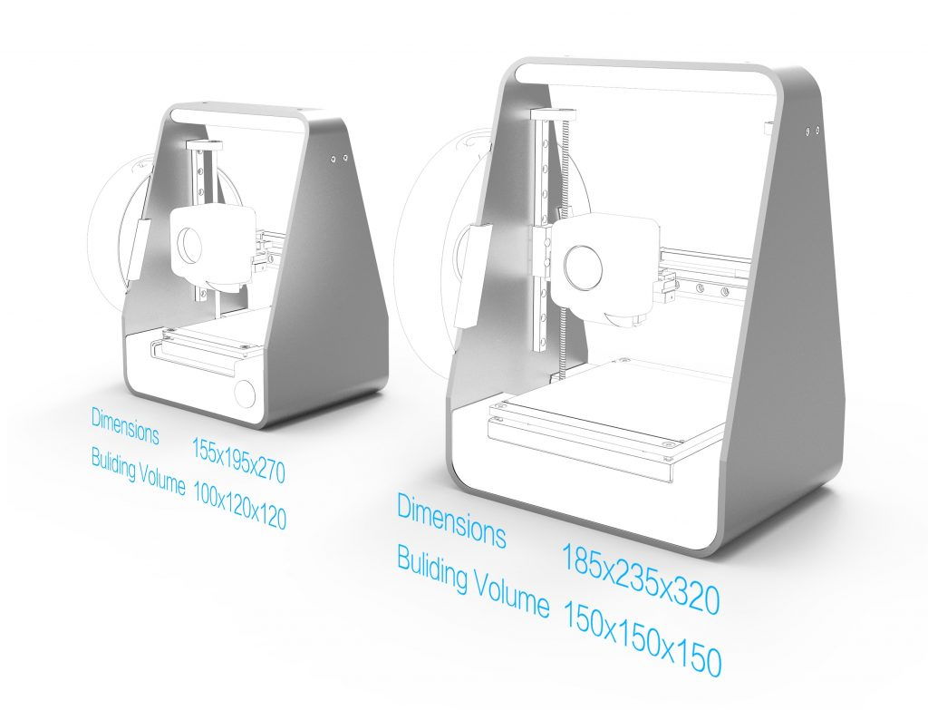 MakeX Migo and Migo L 3D printer dimensions and build volume.